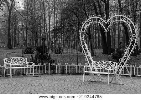 Gazebo pergola in parks and gardens for relax and ceremony monochrome image