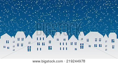 Background with paper city. Christmas template design, paper silhouette texture of small town at the night