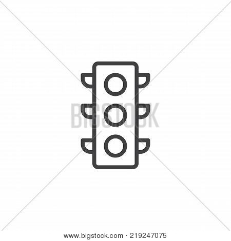 Traffic light signal line icon, outline vector sign, linear style pictogram isolated on white. Symbol, logo illustration. Editable stroke