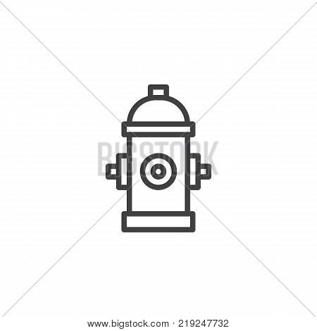 Fire hydrant line icon, outline vector sign, linear style pictogram isolated on white. Hydrant firefighter extinguish symbol, logo illustration. Editable stroke