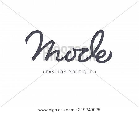 Mode fashion boutique vector lettering. Brush Calligraphy
