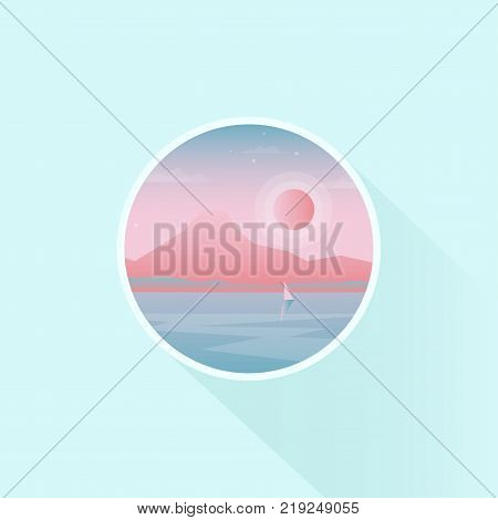 Vector badge design of season vacation. Lone mountain and sailing boat over the water. Nature landscape, long shadow, flat design.