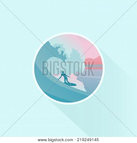 Vector badge design of season vacation. Surfer silhouette on surfboard under big wave. Nature landscape, long shadow, flat design.