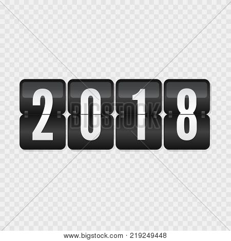 2018 Happy New Year scoreboard vector illustration. Decorative black and white flip symbol on transparent background. Infographic sign for web design celebration decoration