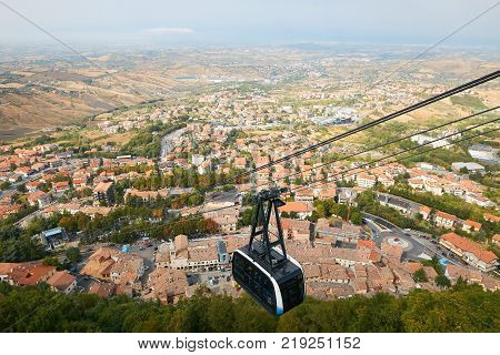 Cable Car In San Marino. View From Above.