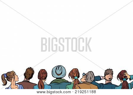 people audience background lecture back isolated on white background. Pop art retro vector illustration.