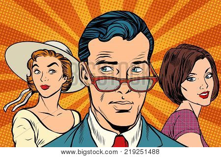 Handsome man choosing between two women. Love and romance. Pop art retro vector illustration