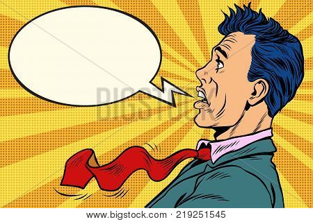 The puzzled man cartoon bubble. Pop art retro vector illustration