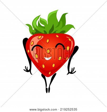 Strawberry having fun. Cartoon illustration of berry. Funny positive and friendly strawberry emoticon face food emoji. Icon comical fruit