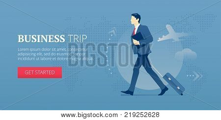 Businessman carrying a luggage with wheels during business travel. Vector illustration of business journey. Banner template of business processes