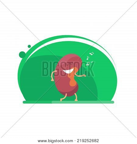 Kidney dances. Pair of cute and funny healthy human kidney. Kidney Health awareness template