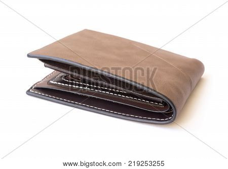 Closeup brown leather wallet for men on white background fashion and business concept