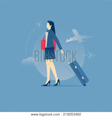 Young business woman carrying her suitcase on wheels in a business travel. Vector illustration of business trip. Isolated on blue background