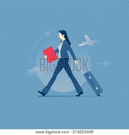 Young business woman carrying her suitcase on wheels in a business trip. Vector illustration of business travel. Isolated on blue background