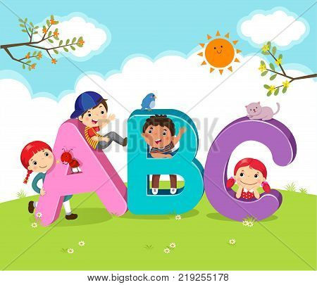 Vector illustration of cartoon kids with ABC letters