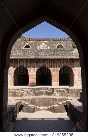 Arched architecture in the palace Jahaz Mahal . Mandu Madhya Pradesh India