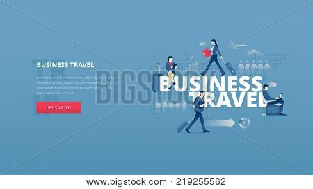 Vector illustrative hero banner of business trip. Business travel hero website header with young men and women characters around word 'BUSINESS TRAVEL' together over digital world map.