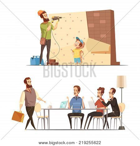 Fatherhood 2 retro cartoon work family balance concept with house renovation and late in office isolated vector illustration