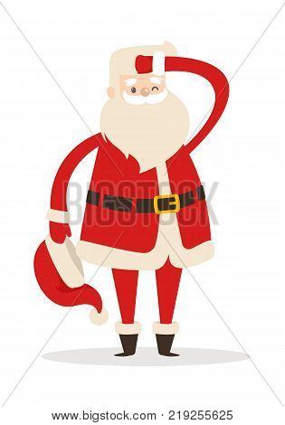 Santa Claus without hat looking far away with one hand near head. One eye is closed. Father Christmas in cartoon design. Funny magic character in flat. Vector illustration in winter holiday concept.