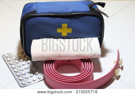 First aid kit for first aid in case of trauma tourniquet for stopping bleeding bandage for bandaging.