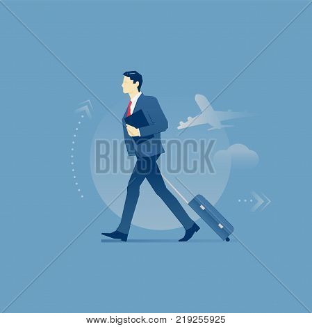 Young businessman carrying his suitcase on wheels in a business trip. Vector illustration of business travel. Isolated on blue background