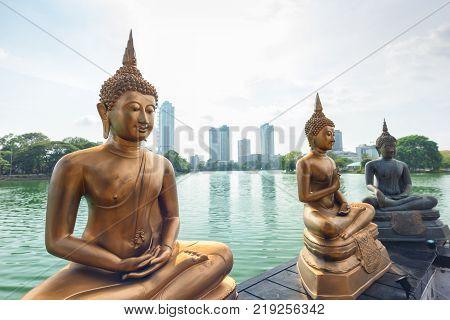 COLOMBO SRI LANKA - MARCH 24 2016: Buddha statues at Seema Malaka Temple in Colombo Sri Lanka.