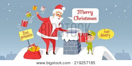 Santa Christmas and fast delivery of best presents. Claus throwing presents in chimney. Cartoon Santa and dwarf standing on roof of house, gnome gives gift box. Holiday vector web banner.