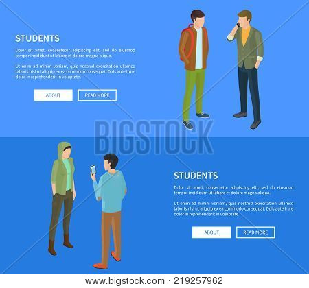 Students cartoon characters web posters vector illustrations with text on blue. College pupils during breaks in modern apparels, faceless people