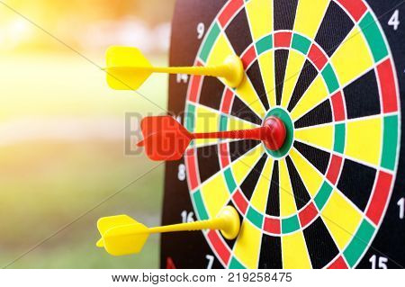 Darts arrow in center of the target dartboard. Target business concept.