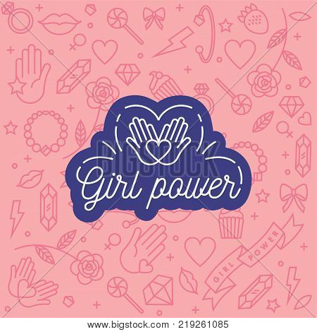 Vector pattern with icon and hand-lettering phrases related to girl power and feminist movement - abstract background for prints, t-shirts, cards