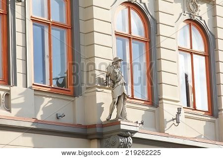 Latvia, Riga - September 10, 2013: Detail facade of the building in style Art Nouveau.