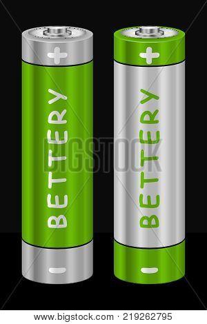 Realistic AA Type Battery. Vector Illustration isolated on Black