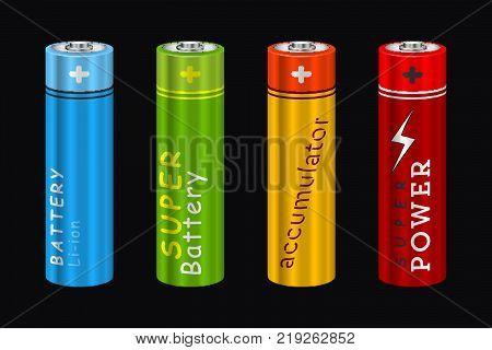 Realistic AA Type Battery. Vector Set Illustration isolated on Black