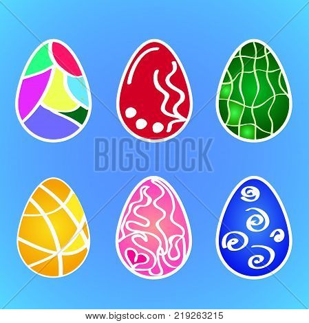 Flat vector: a set of patterns of multi-colored Easter patterns for eggs. Procurement for the celebration of the Holy Pascha.
