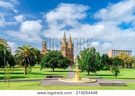 St. Peter's Cathedral in Adelaide city viewed across Pennington Gardens South Australia