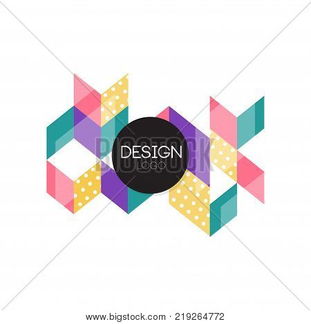 Design logo, colorful abctract geometric element for brand, company identity, business logotype vector Illustration on a white background