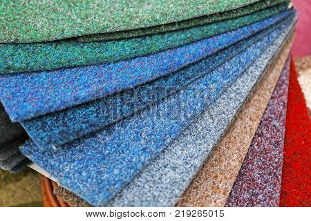 Different samples of carpets, closeup
