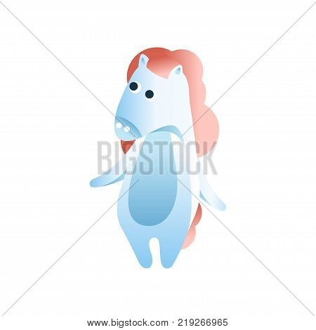 Cute horse standing on two legs, stylized geometric animal low poly design vector Illustration on a white background