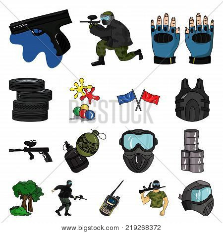 Paintball, team game cartoon icons in set collection for design. Equipment and outfit vector symbol stock  illustration.