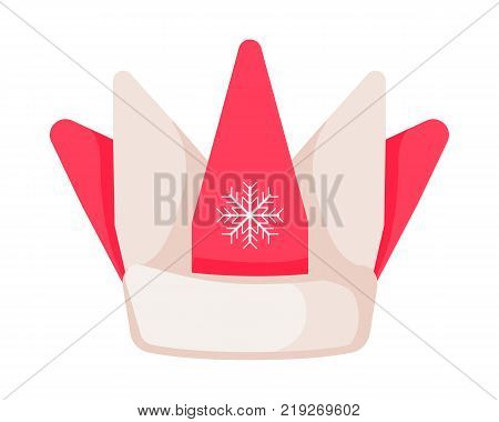 Santa Claus hat in form of crown with snowflake in center isolated on white. Winter fur woolen cap. Father Christmas hat of clown. Flat icon winter accessory in cartoon style vector illustration