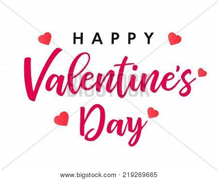 Lettering Happy Valentines Day banner. Valentines Day greeting card template with typography text happy valentine`s day and red hearts on background. Vector illustration
