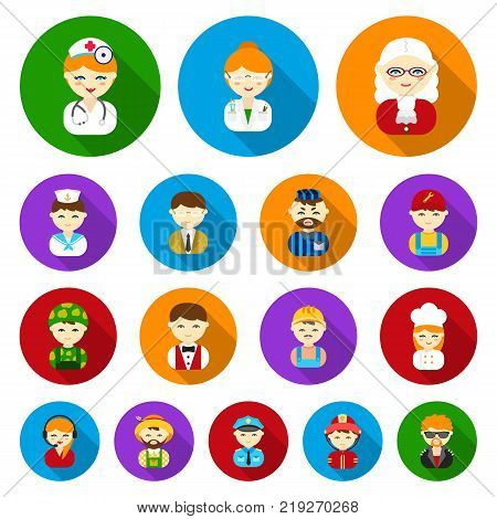 People of different professions flat icons in set collection for design. Worker and specialist vector symbol stock  illustration.