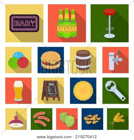 Pub, interior and equipment flat icons in set collection for design. Alcohol and food vector symbol stock  illustration.
