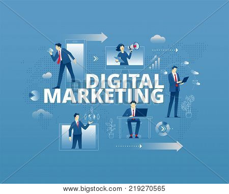 Business metaphor of modern digital marketing. Businessmen and businesswomen faceless characters in different movements around words DIGITAL MARKETING. Vector illustration isolated on blue background
