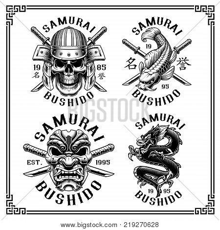 Set of vintage samurai emblems shirt graphics. Text is on the separate layer ( VERSION FOR WHITE BACKGROUND)