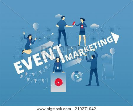 Business metaphor of modern event marketing. Businessmen and businesswomen faceless characters in different movements around words EVENT MARKETING. Vector illustration isolated on blue background