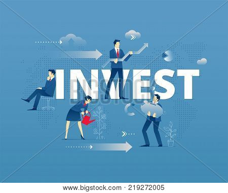 Business metaphor of investment. Businessman and businesswoman faceless characters in action around word INVEST over digital world map. Vector illustration isolated on blue background