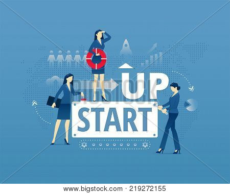 Business metaphor of start-up project launch. Businesswomen faceless characters in action around words START UP. Vector illustration isolated on blue background