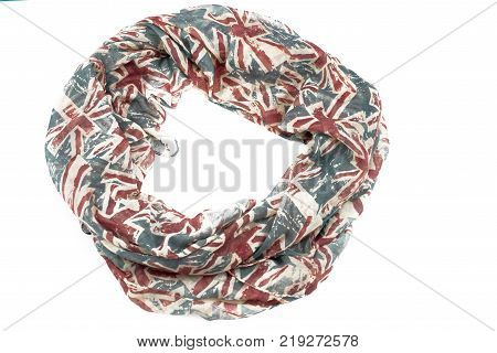 Decorative draping frame of the textile. Women's scarf red figure the British flag.