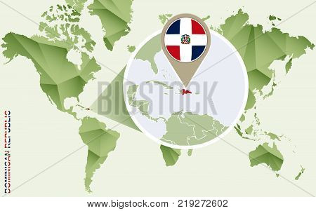 Infographic for Dominican Republic detailed map of Dominican Republic with flag. Vector Info graphic green map.